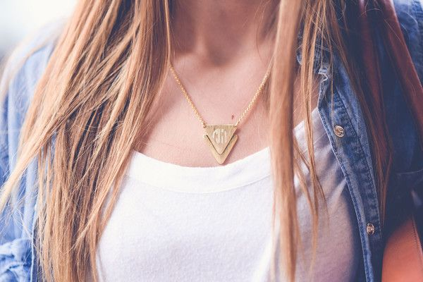 Monogrammed Triangle Necklace - Casual and Stylish!