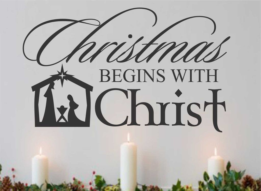 Religious Christmas Quotes Delectable Christmas Begins With Christ  Nativity Scene Decal  Holiday Quote
