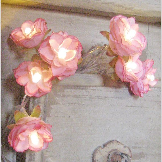 Vintage Pink Wild Roses Fairy Lights Faux Flowers Fairy