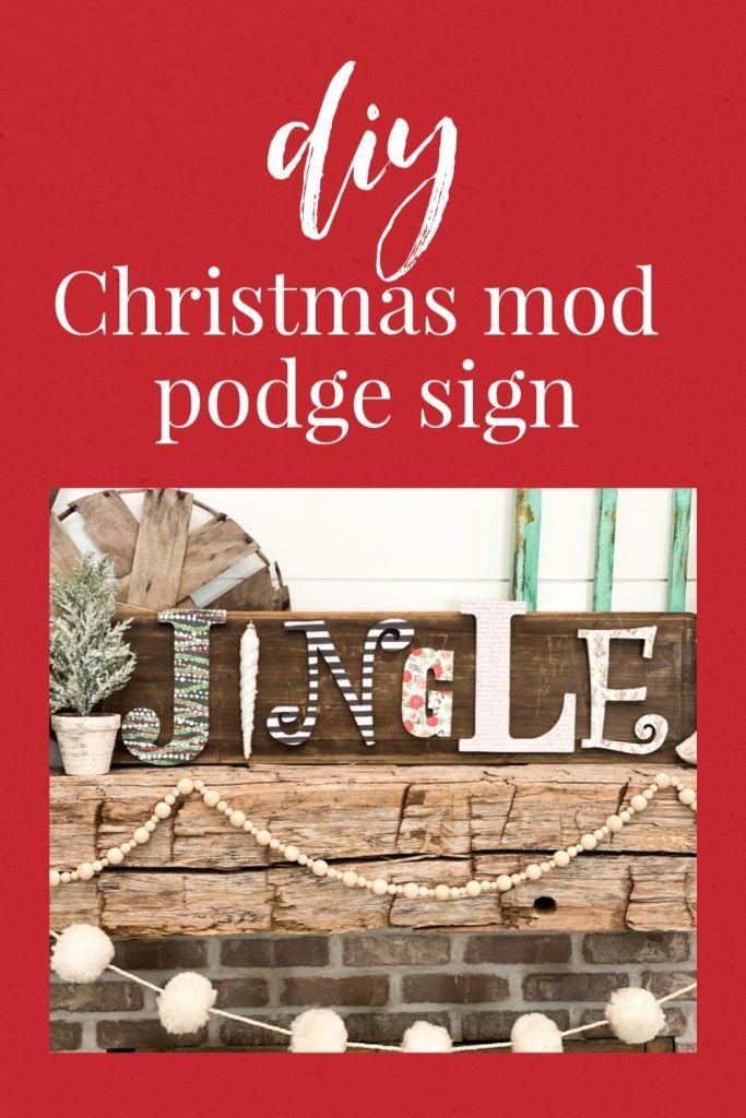 diy Christmas mod podge sign - Re-Fabbed