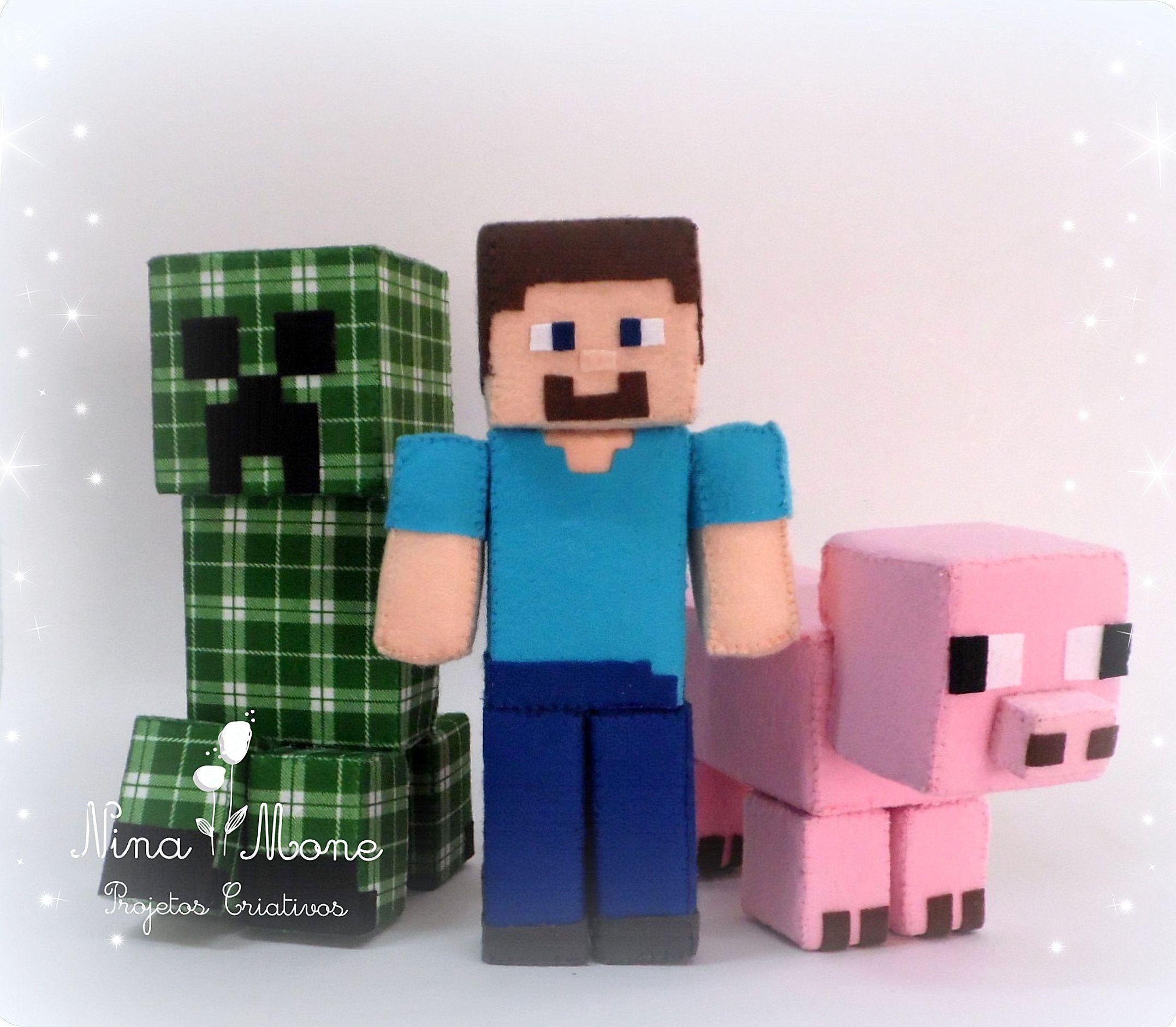 Minecraft kit em feltro steve porco e creeper - Minecraft creeper and steve ...