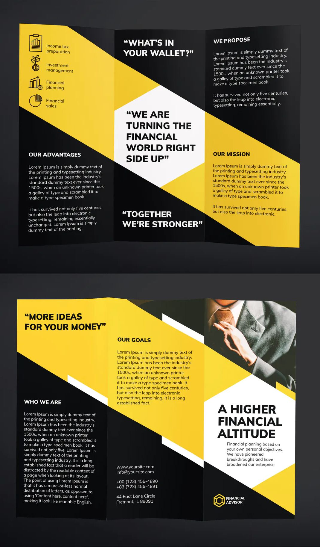 Financial Advisor Trifold Brochure Template AI, EPS, INDD
