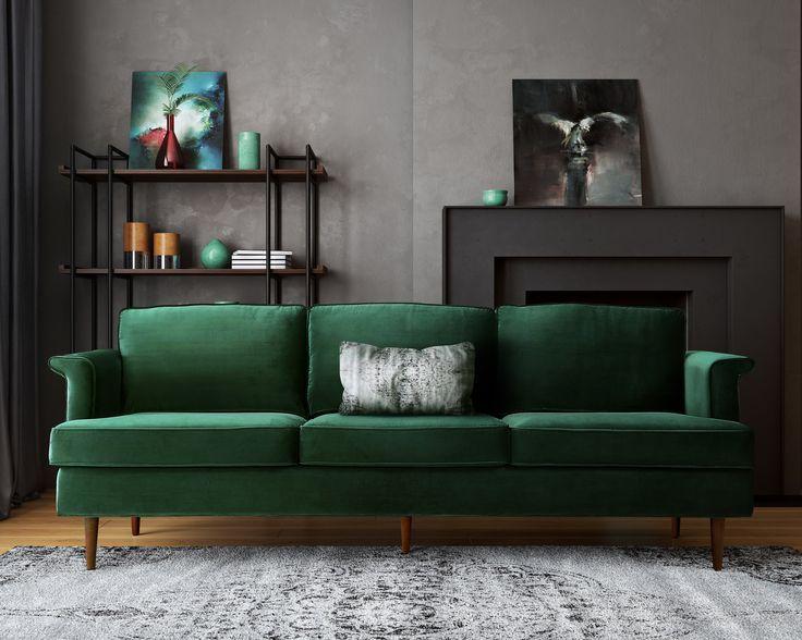 Image Result For Midcentury Green Walls Home Green Velvet Sofa