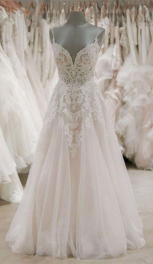Strap V-Ausschnitt Brautkleider Backless Elfenbein Tüll Brautkleid WD309 #dresseseveryoccasion