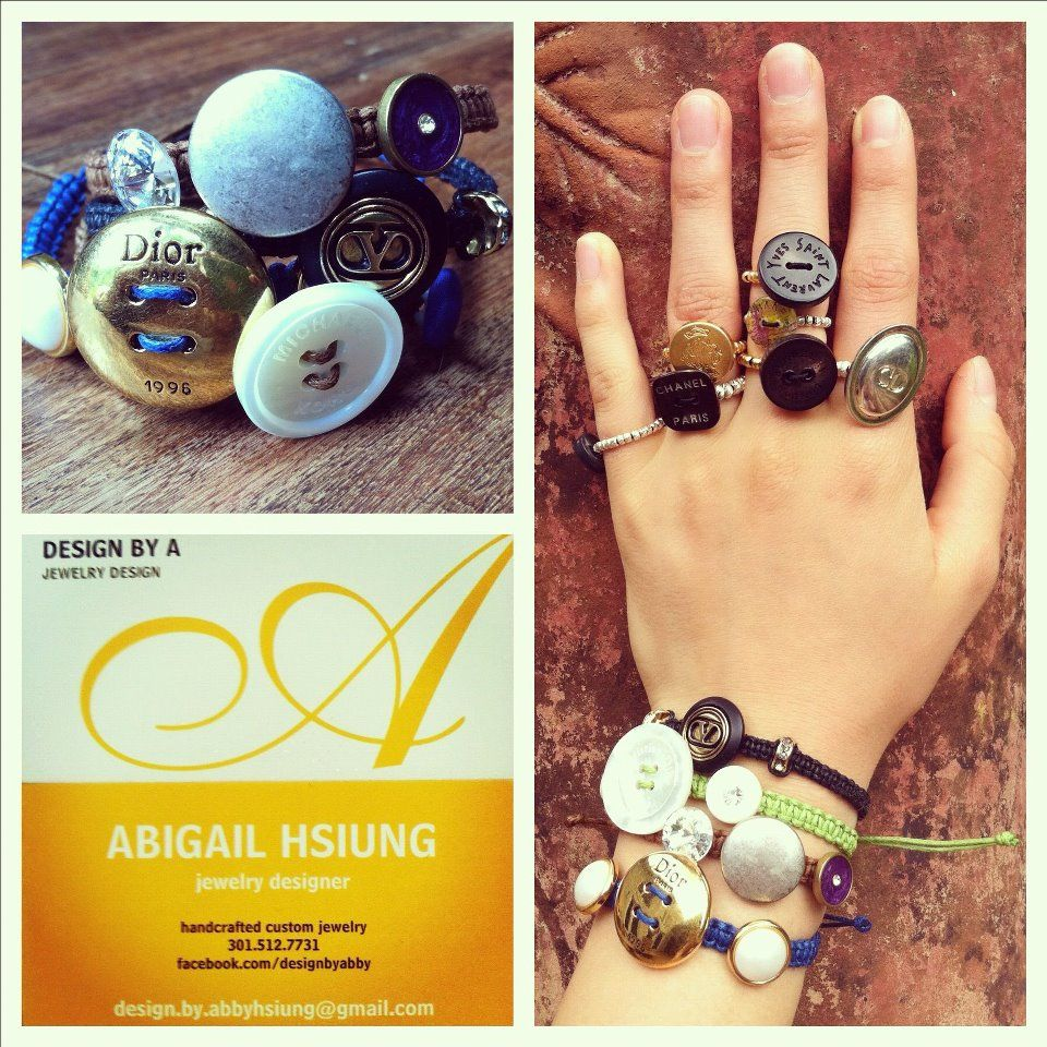 Bracelets and Rings and my business card vintage designer button