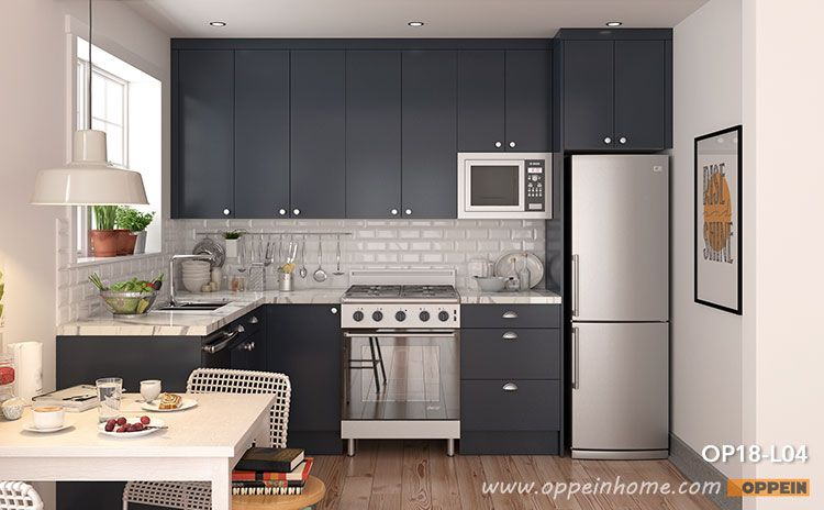 Small L Shaped Navy Blue Kitchen Cabinet Op18 L04 Small L Shaped Kitchens Kitchen Design Small L Shaped Kitchen