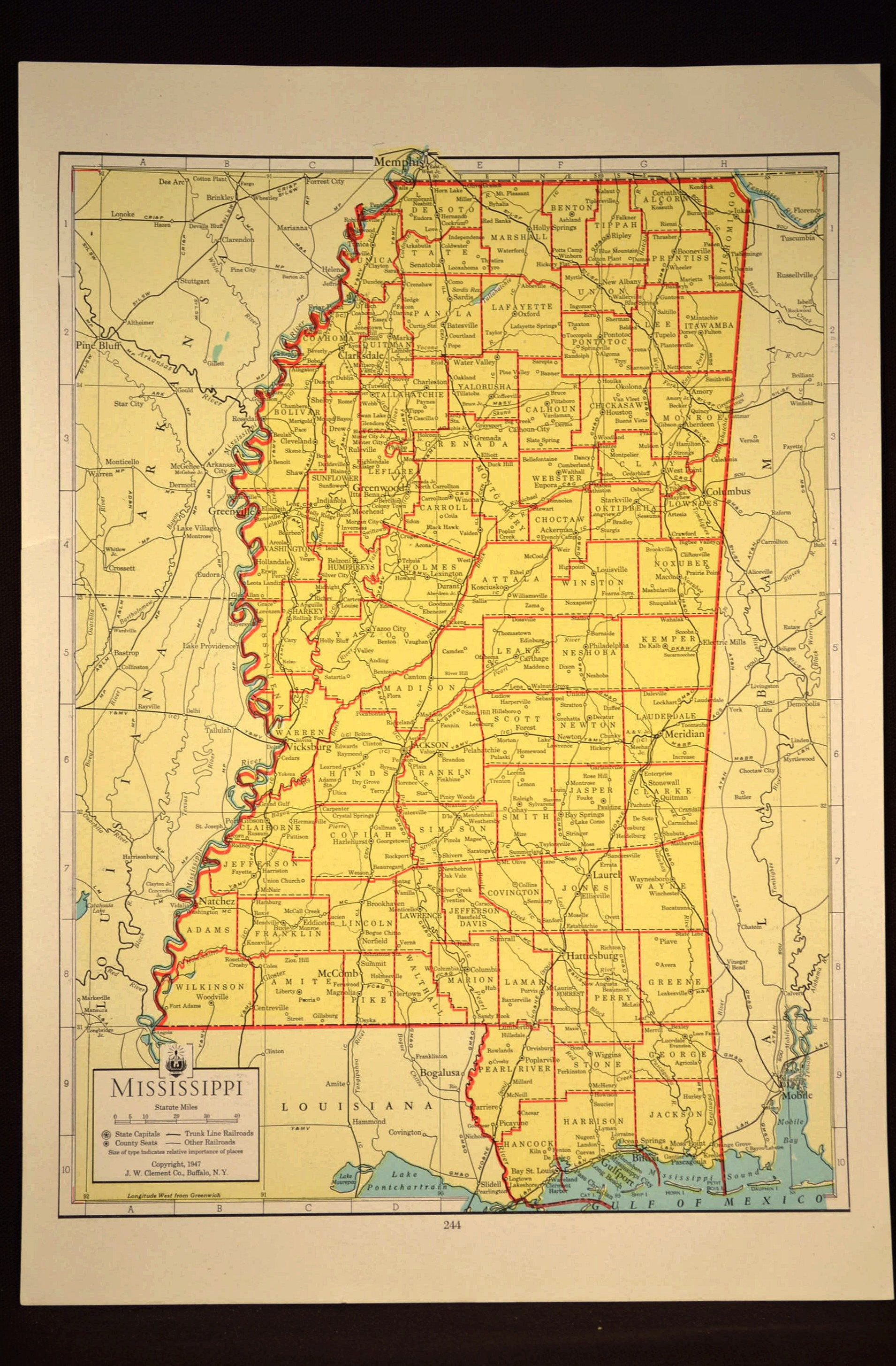 Colorful Yellow Vintage Mississippi Map Mississippi Wall Art | Map ...