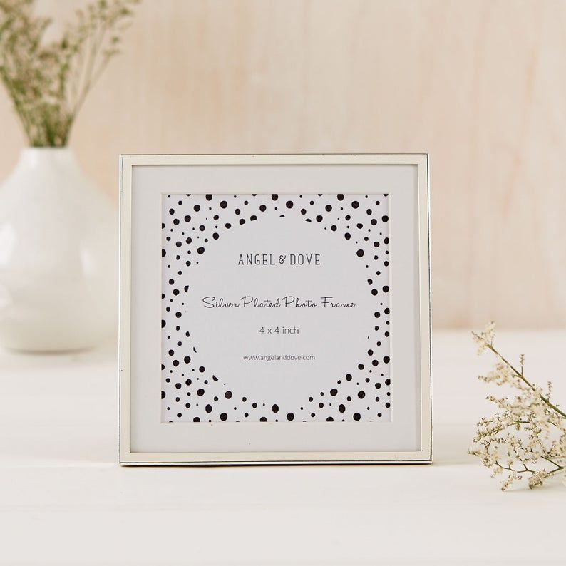 Small Silver Plated 4x4 10x10cm Photo Frame with Ivory Mount