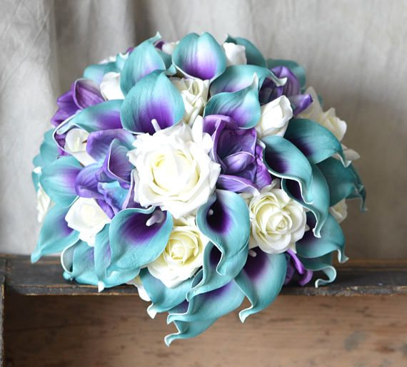 Teal And Purple Wedding Flowers: Teal Purple Bridal Bouquet Real Touch Flowers Calla Lily