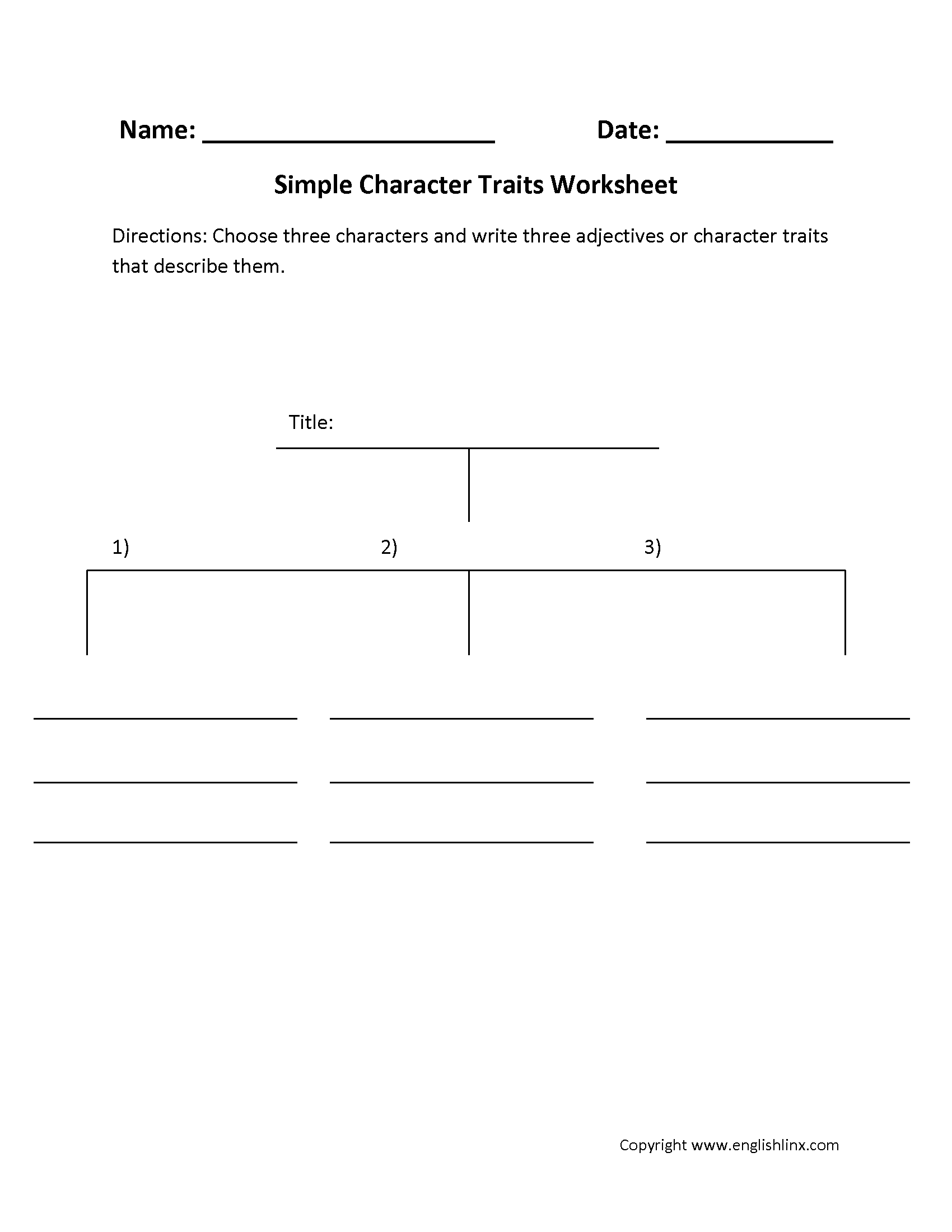 Simple Character Traits Characterysis Worksheets