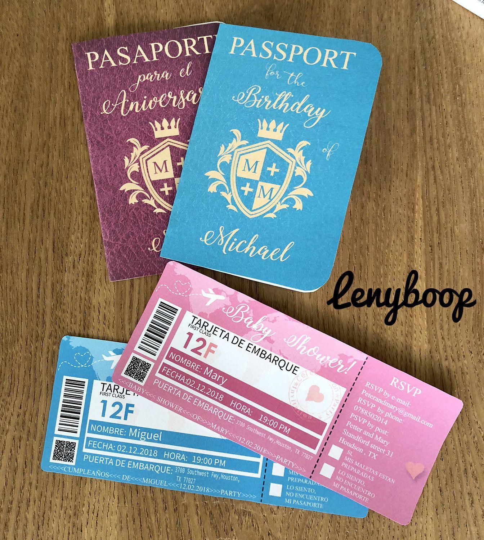 Invitacion De Boda De Pasaporte Y Tarjeta De Embarque Para Boda