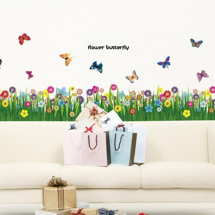 flower grass butterfly wall border decal removable windows stickers