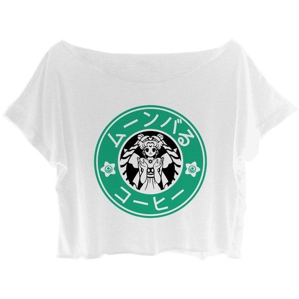 20bfe8221 ASA Women's Crop Top Sailor Moon Shirt Moonbucks Coffee Special... ($25) ❤  liked on Polyvore featuring tops, t-shirts, shirt crop top, crop top,  coffee t ...