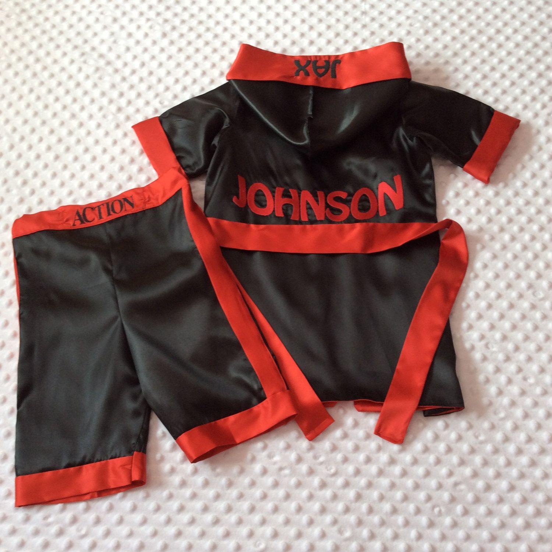 Personalised Boxing Robes: CUSTOM Made Satin Baby BOXING Robe & Trunk Set Boxing