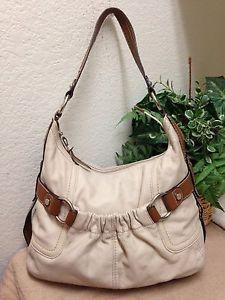 009c9df052 Tignanello Ivory Cream Leather Hobo Bag Shoulder Handbag Large Satiny  Interior