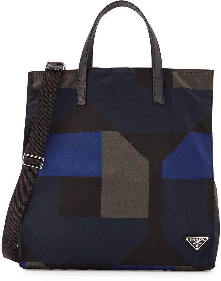 Prada Men s Printed Nylon Tote Bag 84aeefa487781