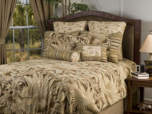 Bahamian Coffee Taupe Palm Leaf Bedding By Victor Mill Is