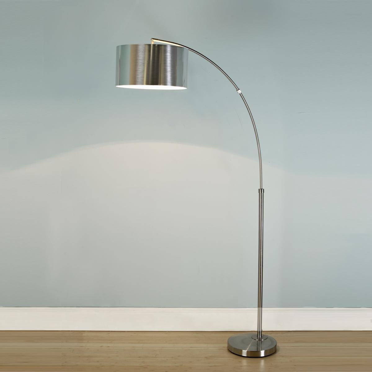 Nickel Arc Floor Lamp With Silver Drum Shade Slick Silver