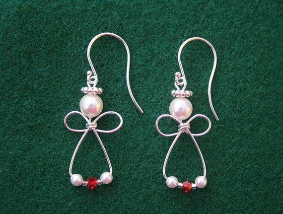 Items Similar To Angel Earrings Sterling Silver Red Swarovski