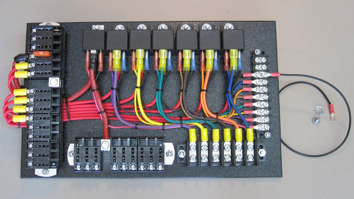 7-Relay Panel with Switched Fuse Panel | Rat rods truck, Rat rod ... fuse relay box wiring diagram Pinterest
