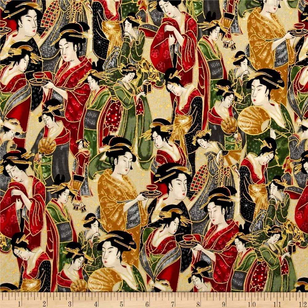 Kaufman Imperial Collection Metallic Geishas Crimson from @fabricdotcom  Designed by Studio RK for Robert Kaufman, this cotton print is perfect for quilting, apparel and home decor accents. Colors include black, red, grey, green, cream, yellow, and metallic gold.