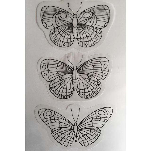 Websta Markheart Better Photo Of These Three Tayporttattoocollective Flash Addic Butterfly Tattoo Designs Traditional Butterfly Tattoo Butterfly Tattoo