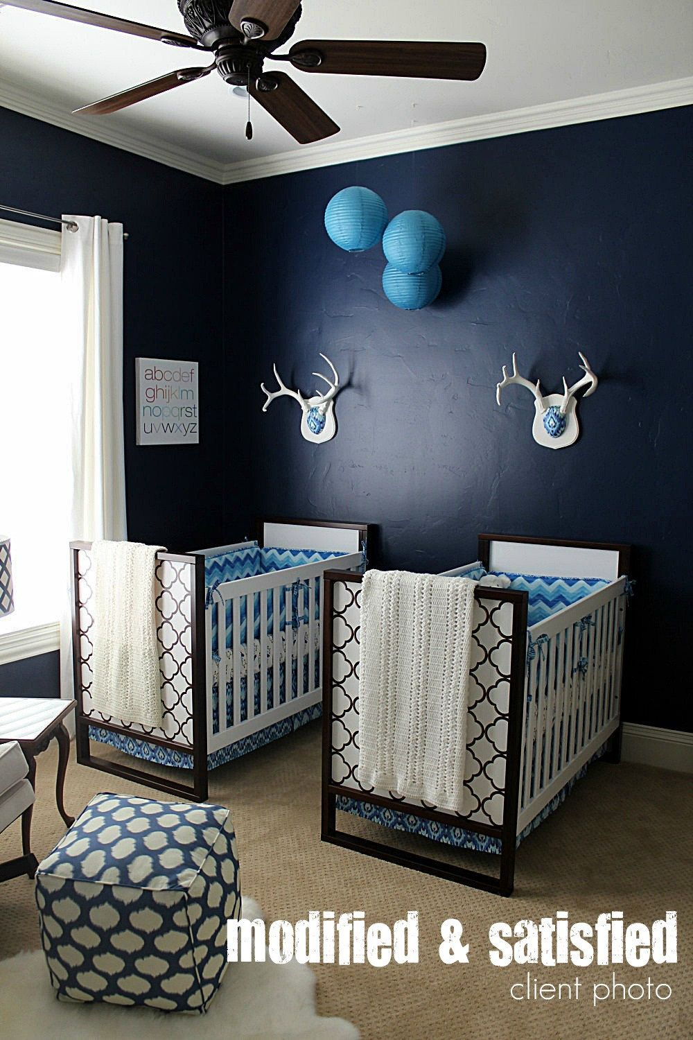 Bumper Sheet Skirt Fabric Ties Piping Upgrade By Modifiedtot Check Out The Deer Horns In This Boy Nursery