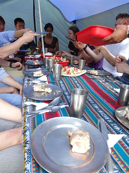 Feeding time on the Inca Trail