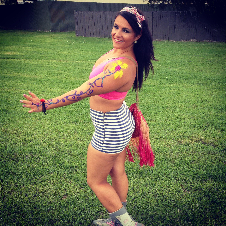 Body art  pin stripe sailor shorts