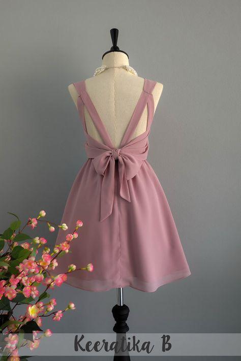 Partei V rückenfreie Kleid rosige braunes von LovelyMelodyClothing ...