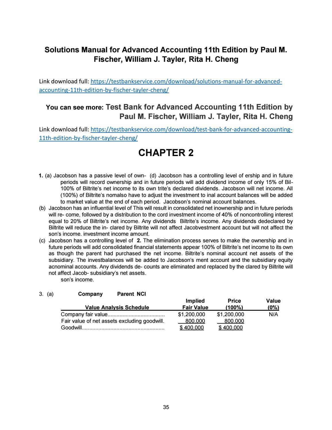 Download solutions manual for advanced accounting 11th edition by fischer  tayler cheng