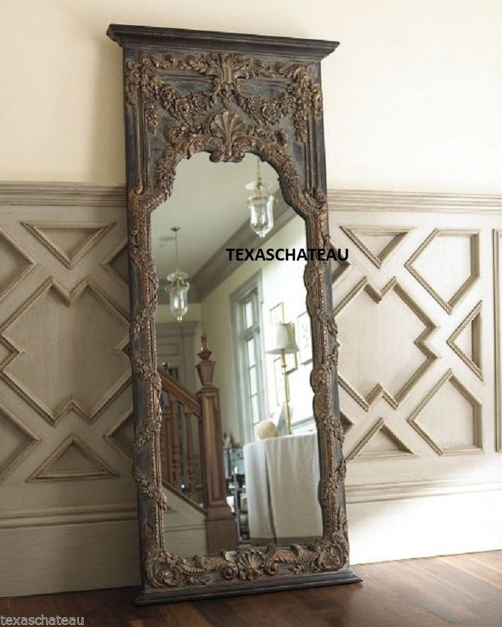 Extra large french baroque mirror floor full length leaner antique ...