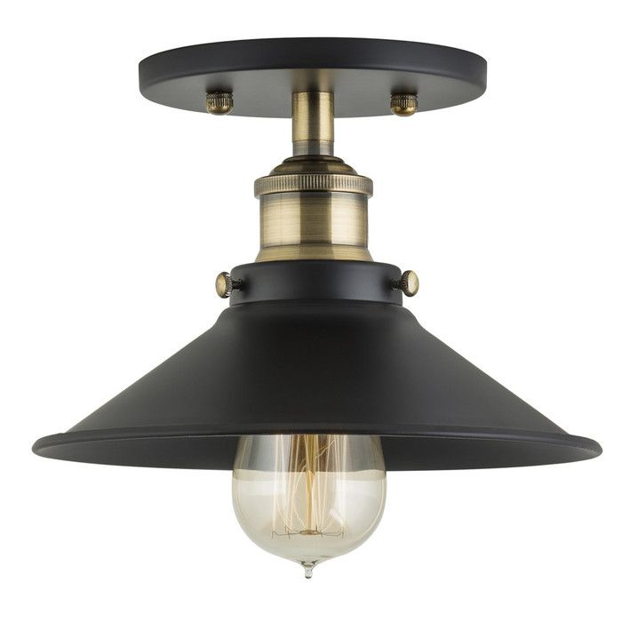Linea di liara andante industrial factory semi flushmount ceiling lamp antique brass one light fixture with metal shade exposed hardware canopy