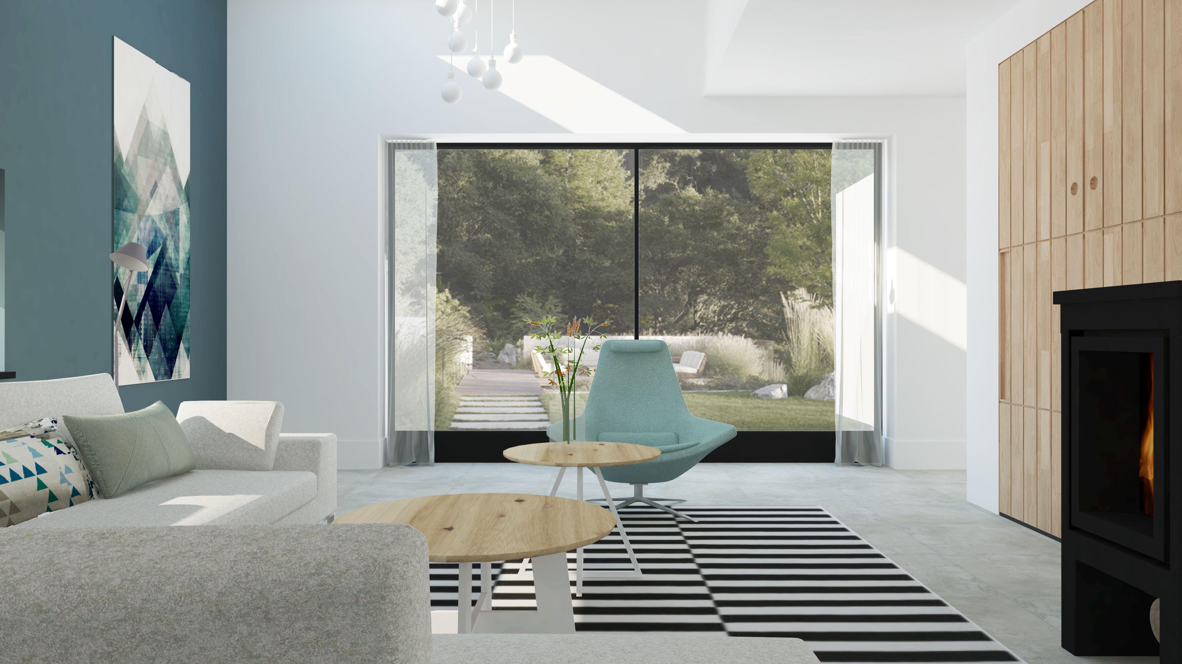 Modern scandinavisch interieur met vide en houtkachel for Interieur moderne design