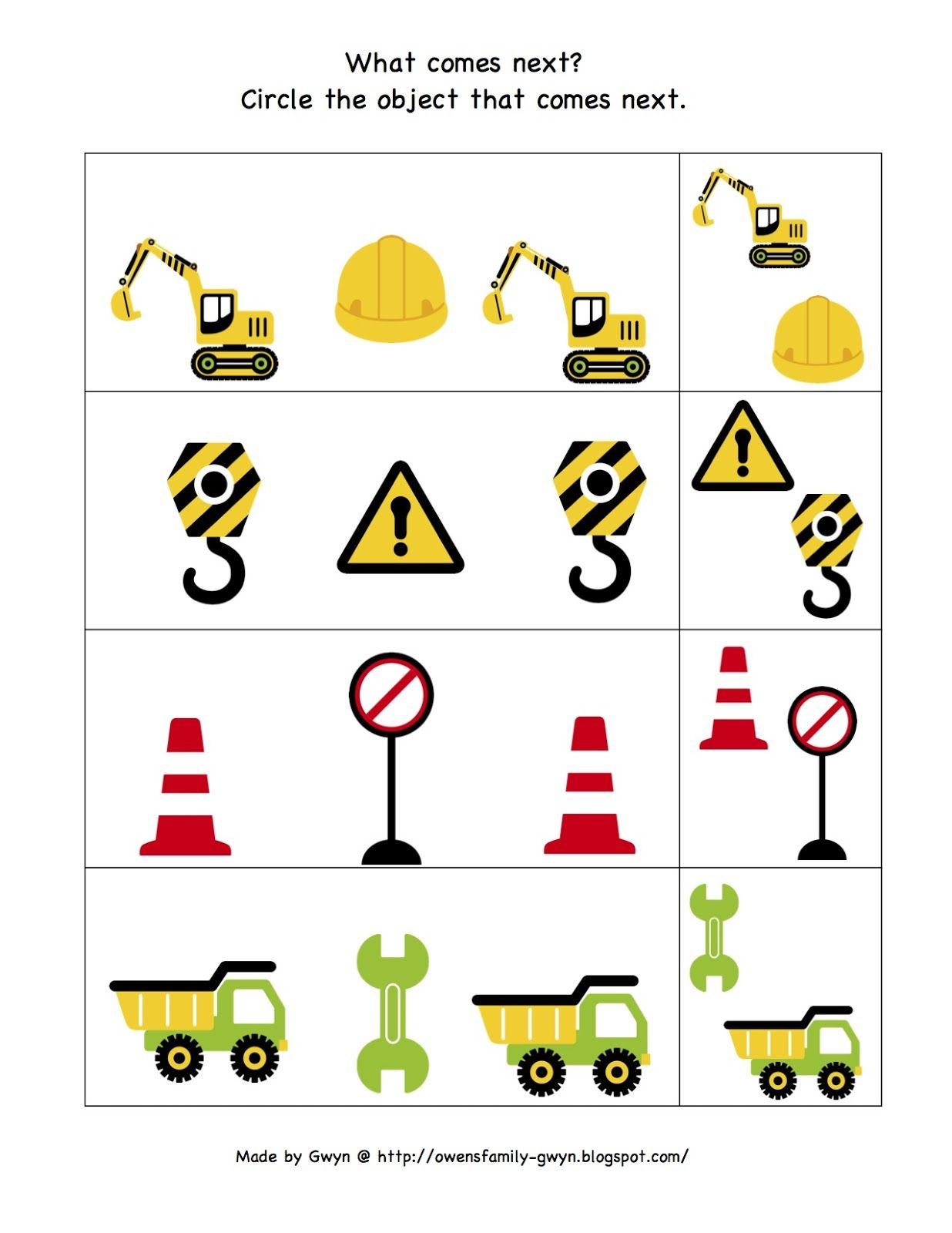 Preschool Printables Construction