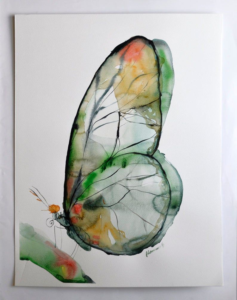 Butterfly Art Print, Green and Yellow Watercolor Nature Room Decor