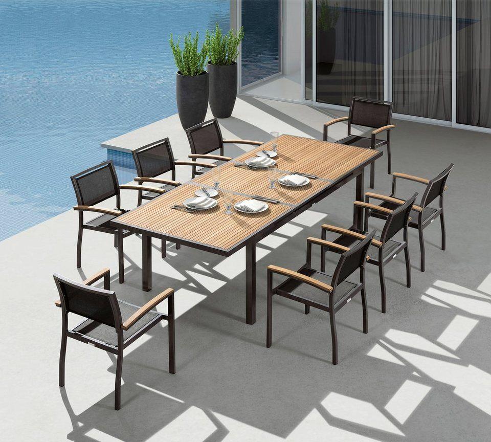 Gartenmöbelset »Melbourne«, 9-tgl., 8 Sessel, Tisch 180-240, Alu ...