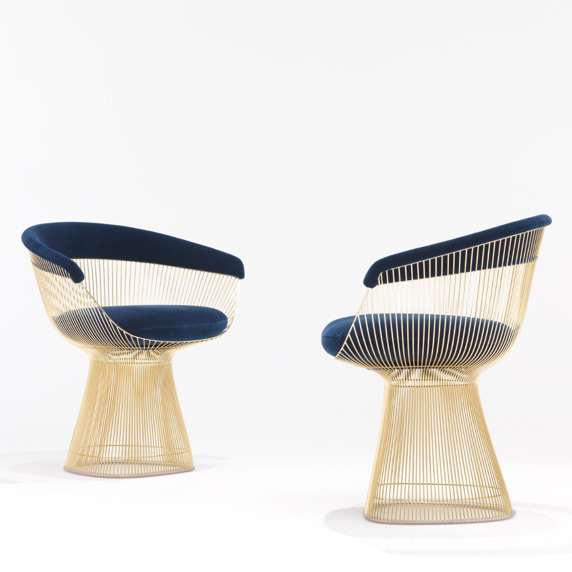 Platner Dining Chairs Blue Velvet U0026 Gold By Knoll