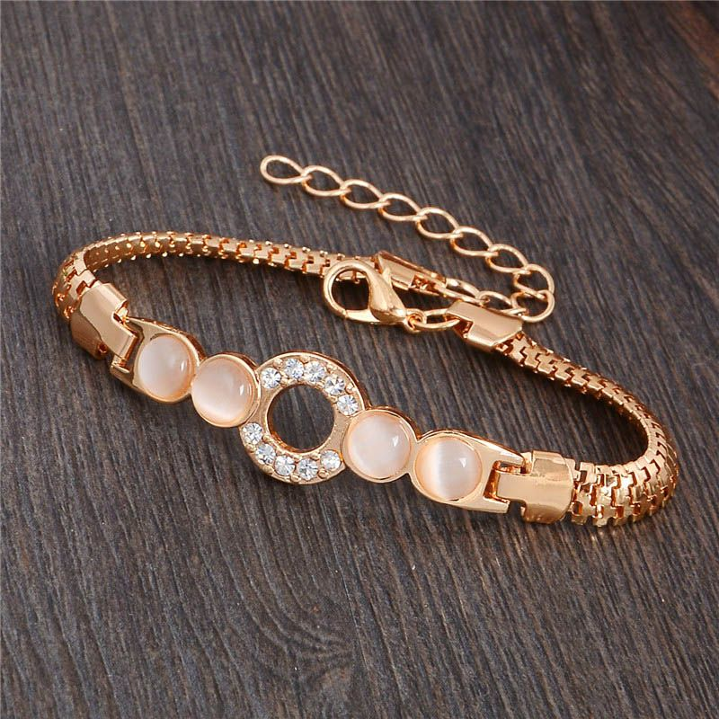 viennois com stone bracelets romantic sweet heart bracelet zibbor female gold rose opal for chain women jewelry color bangles