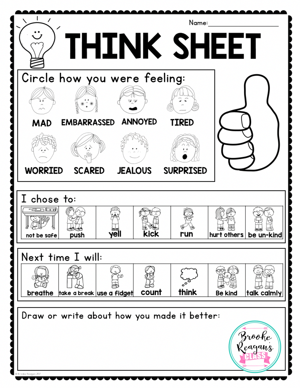 Think Sheet To Use After Students Have Gotten Calm In A