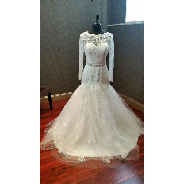 Modest Lace and Tulle Wedding Dress with Long Sleeves Bridal Gown ...