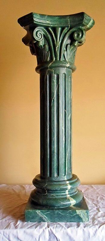Plaster Column Imitation Green Marble by Daniel Aragó