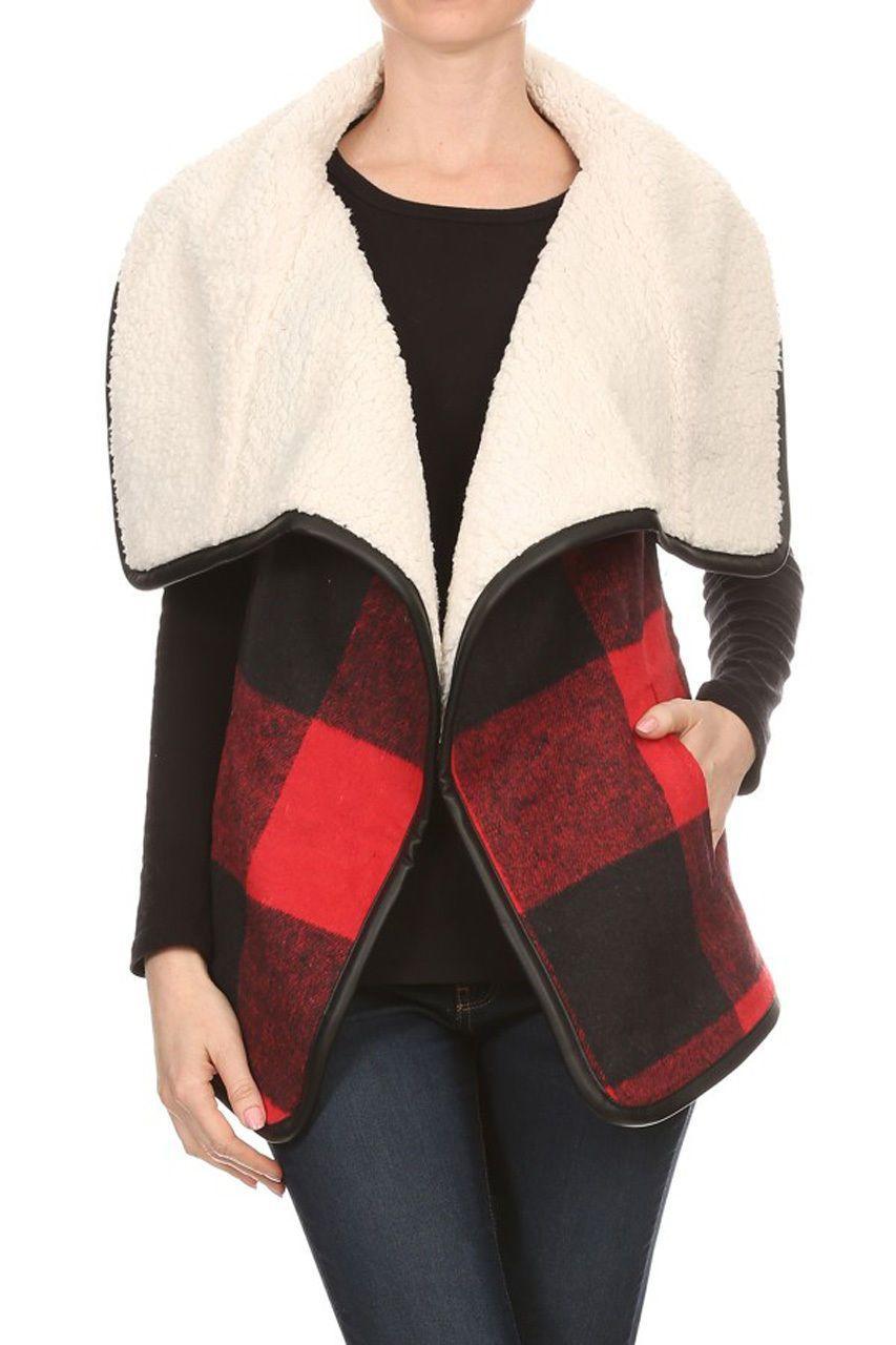 Red flannel vest womens  Love Tree Womens Red Buffalo Plaid Faux Shearling Lined Fleece Vest