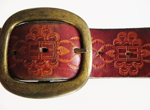 Vintage Tooled Leather Belt, Wide Brown Belt, Big Brass Buckle, 70s Hippie Belt, Boho, Retro Leather Belt, Big Belt, 70s Retro Belt