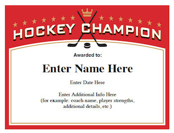 Hockey certificates templates youth hockey hockey teams and hockey hockey certificates templates great for youth hockey teams thru college yadclub Image collections