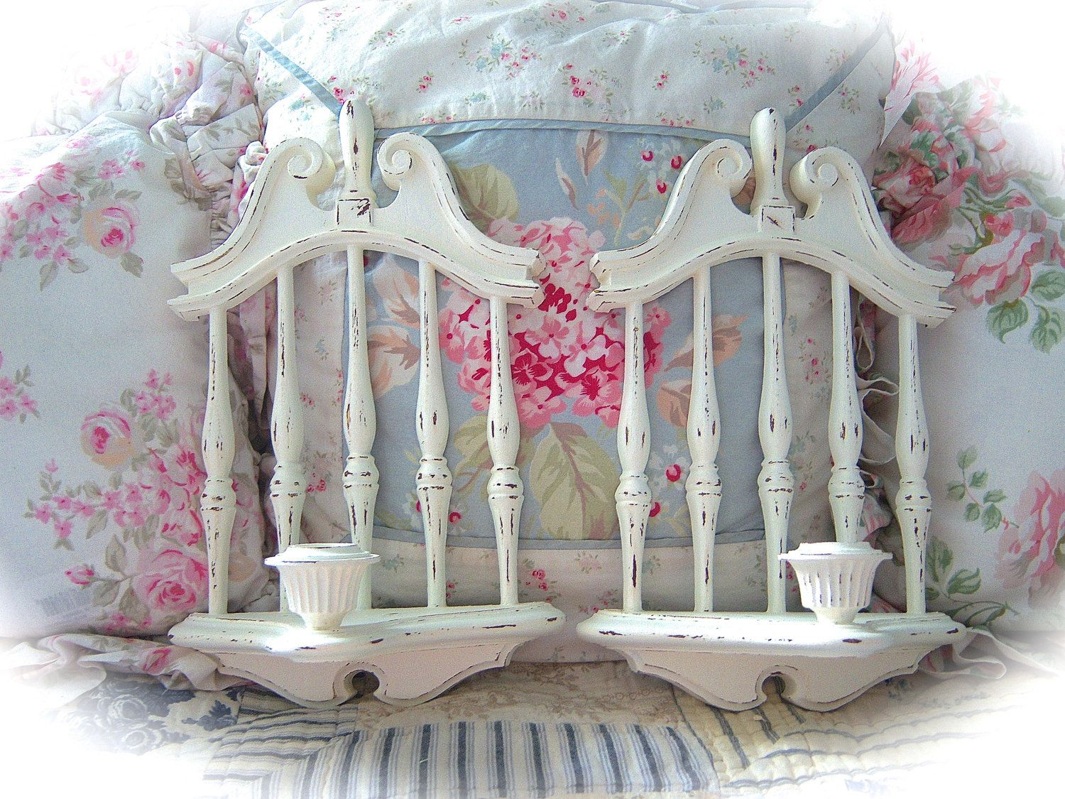 RESERVED For GAYLE Shabby Vintage Off White Cream Distressed Wall Candle Holder Sconces Set ...