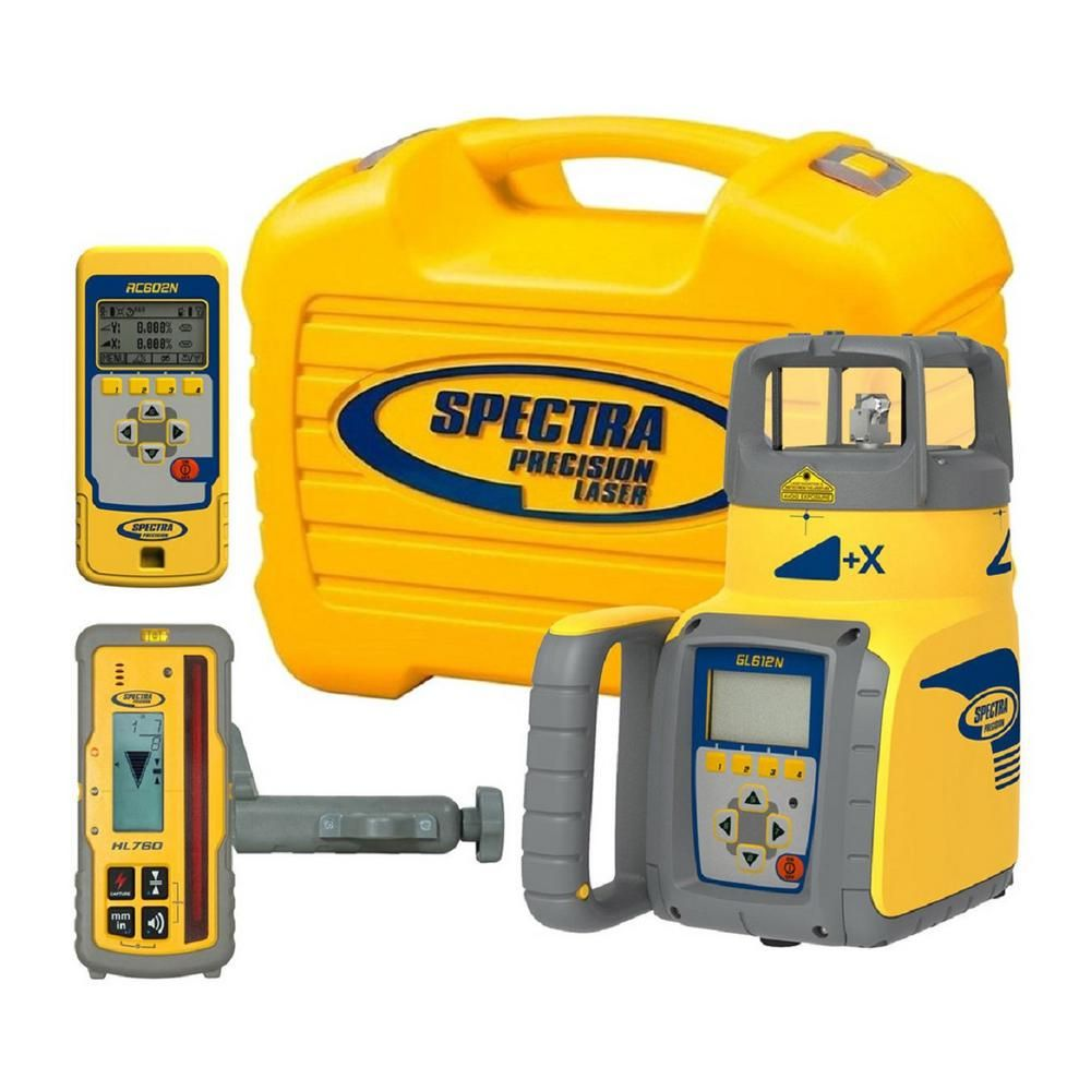 Spectra Precision Red Beam Self Leveling Rotary Grade Laser Level With Hl760 Receiver 8 Piece Red Beam Rotary Spectrum