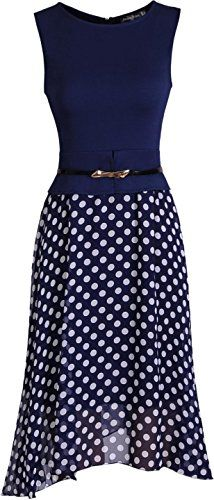 jeansian Women's Office Lady Sleeveless Chiffon Polka Dot Belt Gowns Bodycon  Business Dresses WKD182 Navy L