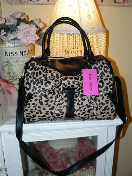 Betsey Johnson Black Leopard Bow Cross Body Satchel Tote Handbag Purse Betseyjohnson