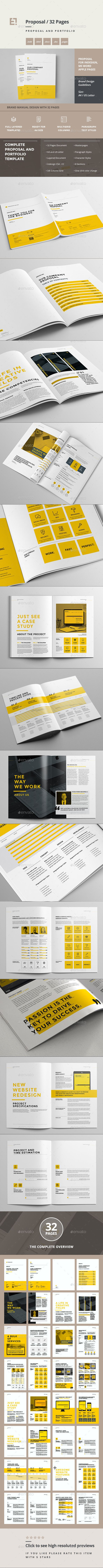 minimal and professional proposal brochure template for creative businesses created in adobe indesign microsoft word and apple pages in international din